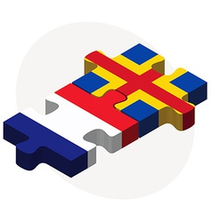 France and aaland islands flags in puzzle vector