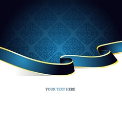 Ribbon vintage blue vector
