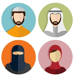 Middle eastern muslim avatar people icons vector