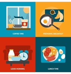 Breakfast and lunch icons set vector