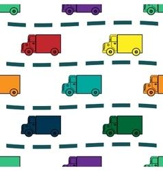 Kids trucks retro background seamless pattern vector