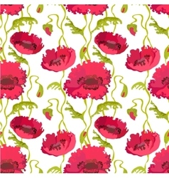 Seamless pattern of poppies stems leaves and buds vector
