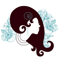beautiful girl silhouette vector image