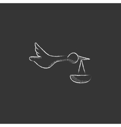 Baby basket with stork drawn in chalk icon vector