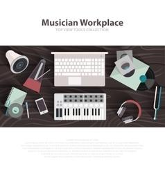 Musician workspace flat vector