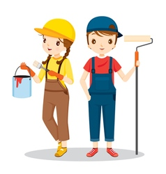 Young painters with tools people occupations vector