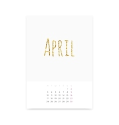 April 2017 Calendar Page vector image vector image