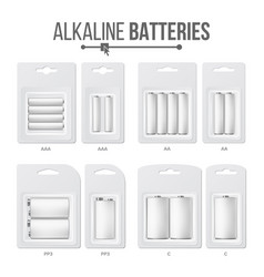 Batteries packed set different types aaa vector
