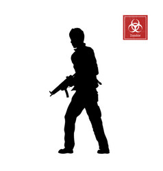 Black silhouette of man with rifle vector