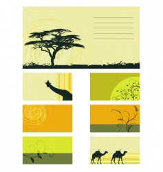 card collection plants and animals vector image vector image