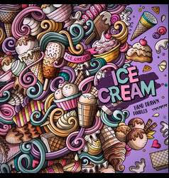 Cartoon hand-drawn doodles ice cream frame vector