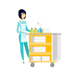 Chambermaid pushing cart with bed clothes vector