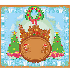 Christmas card with a ginger-bread and funny vector