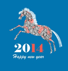Christmas card with horse vector