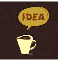 coffee cup with idea word vector image vector image