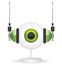 Eye green camera and headphones vector image vector image