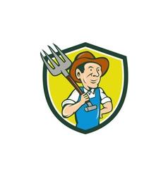 Farmer holding pitchfork shoulder crest cartoon vector