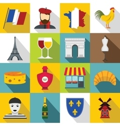 France travel icons set flat style vector image vector image