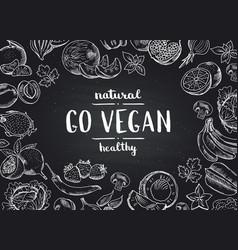 go vegan blackboard background with doodle vector image vector image