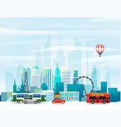 modern cityscape around the world concept vector image vector image