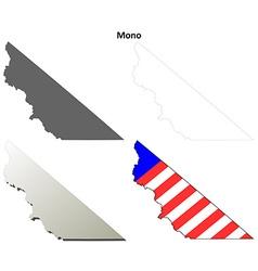 Mono county california outline map set vector