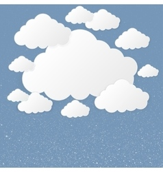 paper clouds on a background of snow vector image