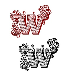 Retro W letter vector image vector image