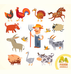 set funny farm little animals cartoon character vector image vector image