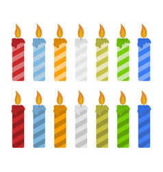 set of color candles vector image vector image
