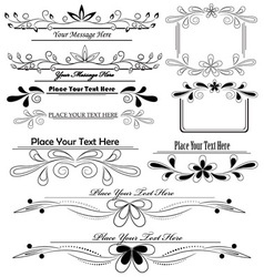set of floral calligraphic design elements vector image vector image