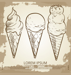sketch ice cream cones on grunge vintage page vector image vector image