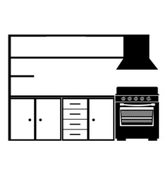 Monochrome silhouette of modern kitchen cabinets vector