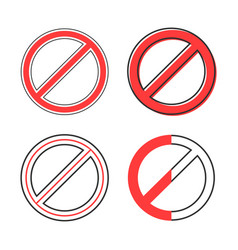 Set of red prohibition sign vector