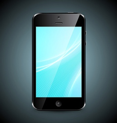 Mobile phone with wallpaper isolated on dark vector