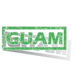 Green outlined guam stamp vector