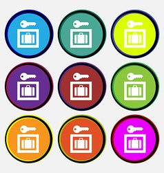 Luggage storage icon sign nine multi colored round vector