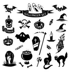 Halloween black set vector
