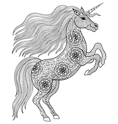 Hand drawn magic unicorn for adult anti stress vector