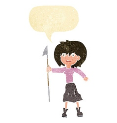 Cartoon woman with harpoon with speech bubble vector