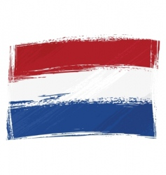 Grunge netherlands flag vector