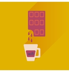 Flat with shadow icon cup of coffee and chocolate vector