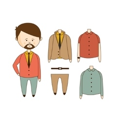 Man with beard wardrobe set vector