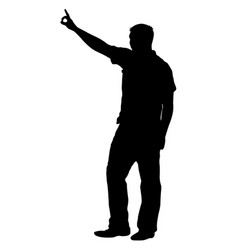 Black silhouettes man with arm raised vector