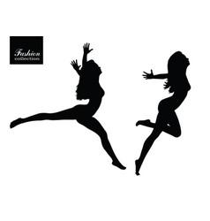 Black silhouettes of beautiful women vector