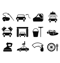 Car washing icons set vector