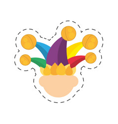 Cartoon jester face hat april fools day vector
