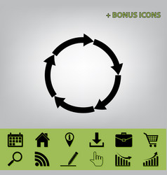 Circular arrows sign black icon at gray vector