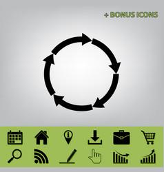 Circular arrows sign black icon at gray vector