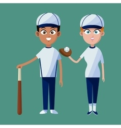 couple player baseball cap glove bat and ball vector image