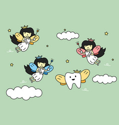 cute colorful tooth fairy flying with teeth vector image